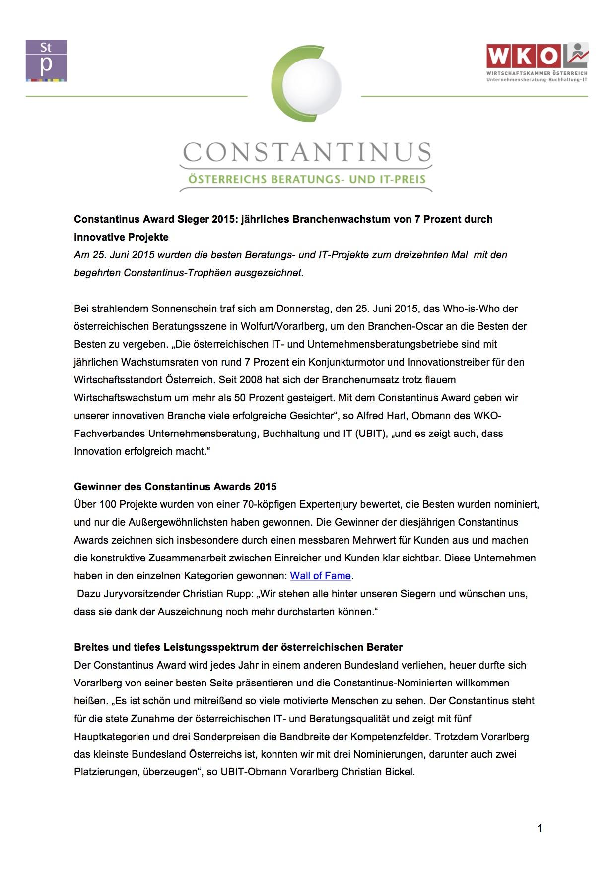 Constantinus Award 2015 - Presseinformation Sieger 2015