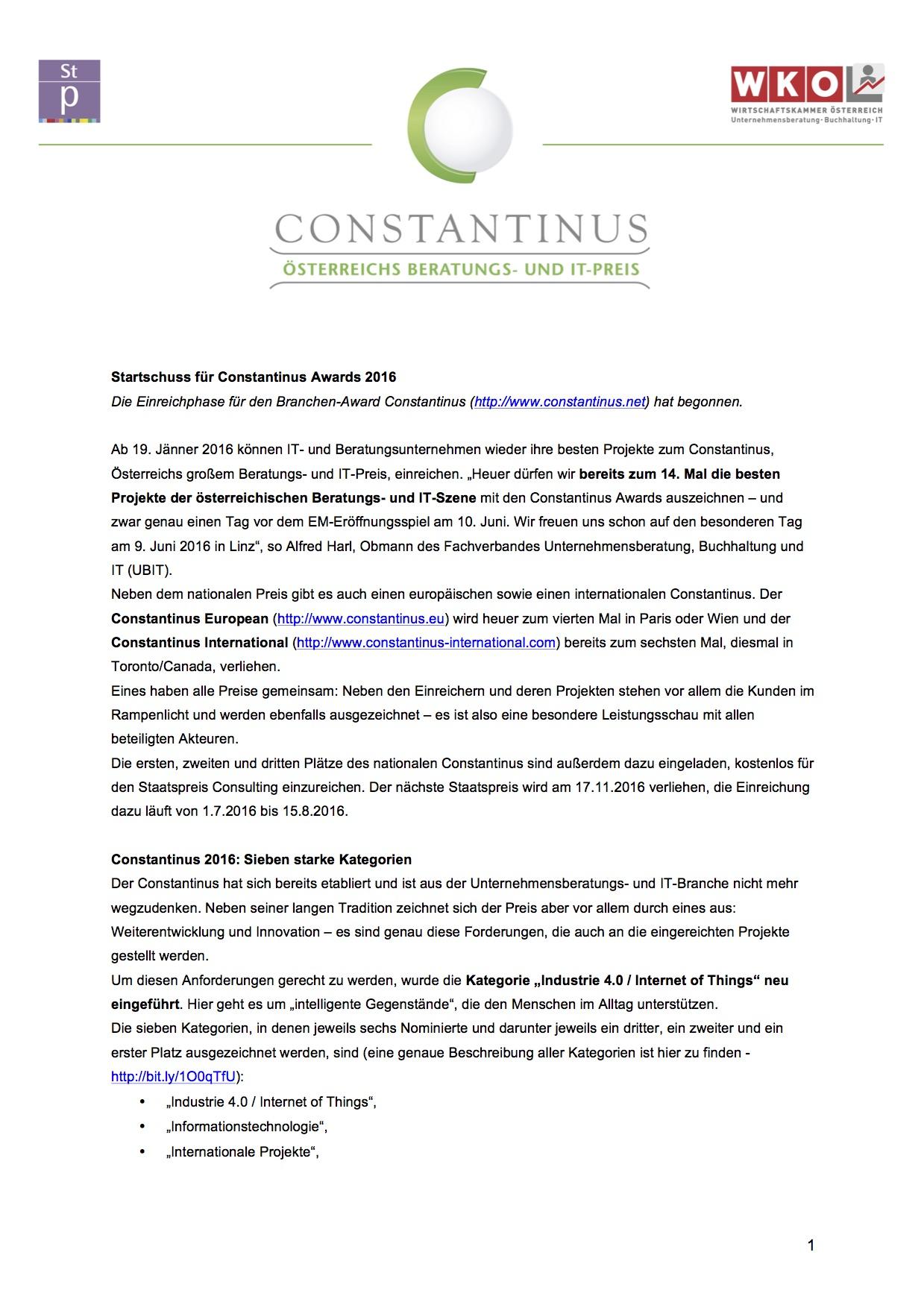 Constantinus Award 2016 - Presseinformation Startschuss 2016