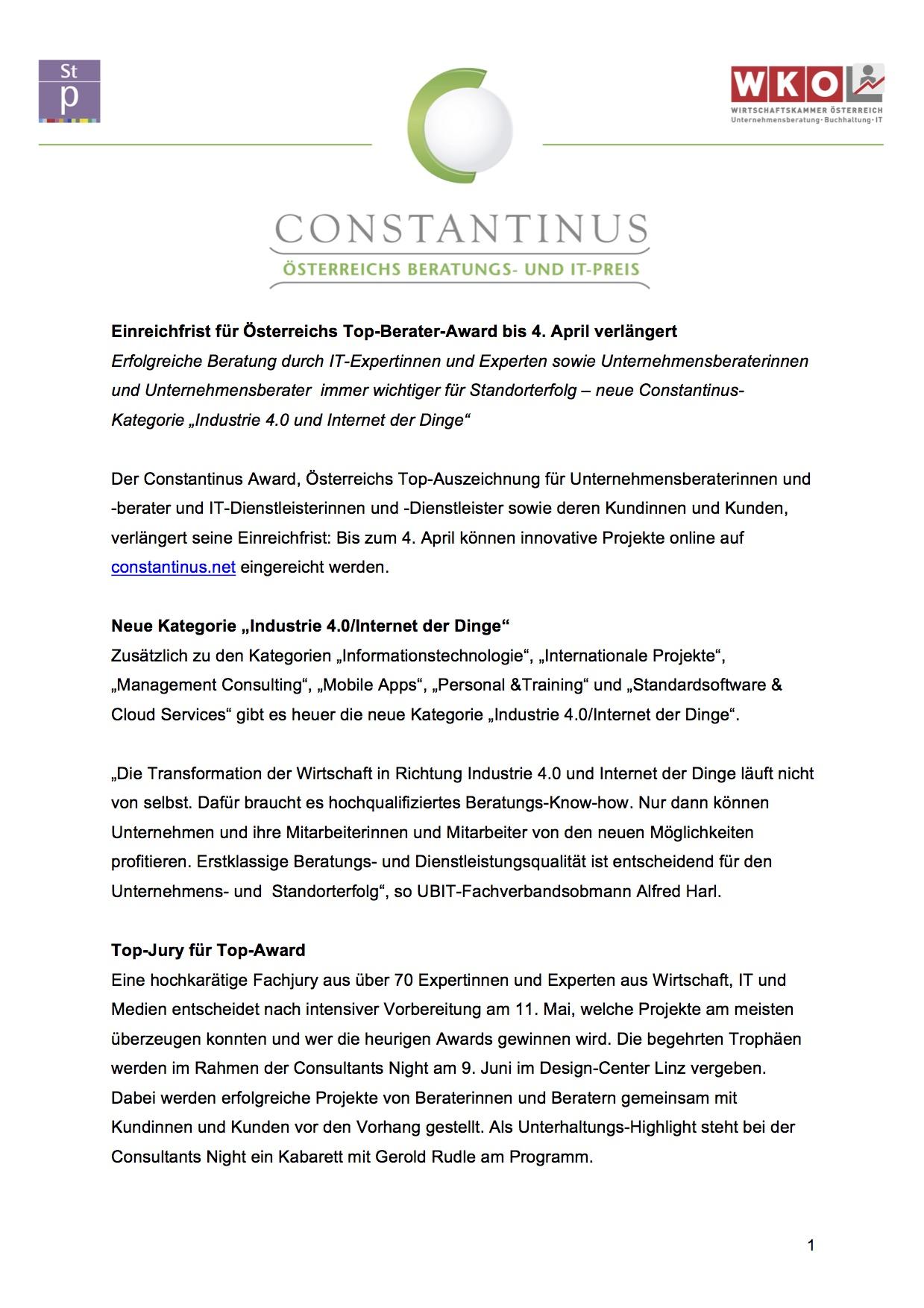 Constantinus Einreichfrist verlängert