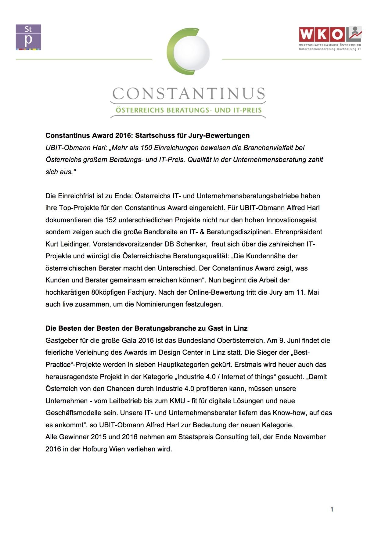 Constantinus 2016 Einreichende